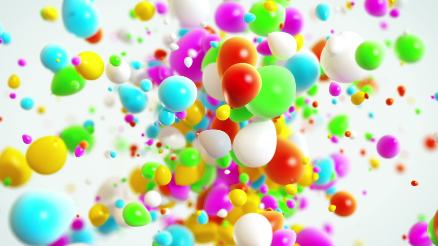 Colorfull Baloons Explosion background in 4K