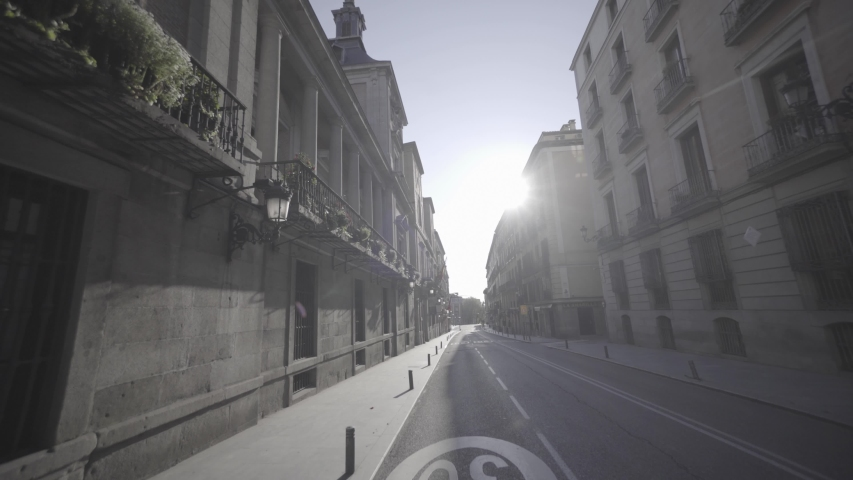 Calle Mayor, Madrid, Empty during COVID-19 Lockdown Royalty-Free Stock Footage #1051250752