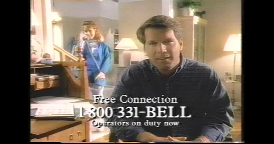 1990's USA South Central Bell Telephone Company Television Commercial Advertisement. Wacky Families juggle  day to day living and rotary phone calls. 4K Scan from vintage broadcast VHS Betacam Master