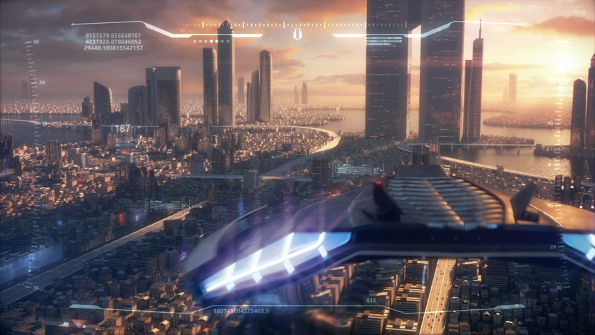 3D Hud Sunset City of the future | Shutterstock HD Video #1051268428