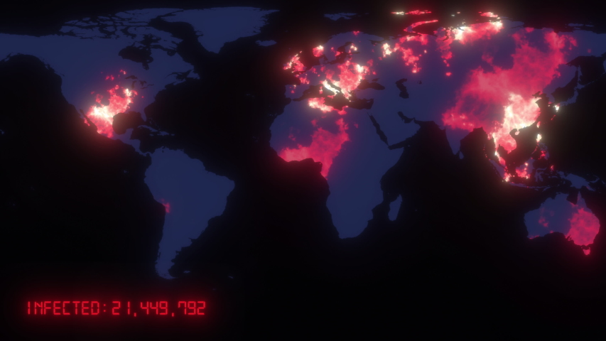 Animated map of spreading of the coronavirus COVID 19 pandemic from wuhan in china across the world. Dark map with orange colored cities with statistics data. 3d rendering concept background in 4K.