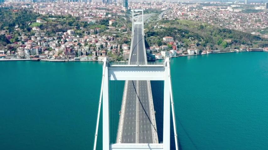 Pandemi in Istanbul, Fatih Sultan Mehmet Bridge view, Bosphorus, Istanbul, Turkey
