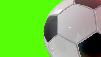Closeup of 3D animated Soccer Football Ball seamless loop 360 degrees. On green screen for easy keying. Great for your soccer marketing campaign.