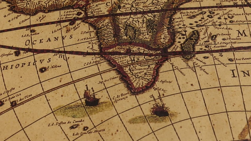 Close up of an old vintage map