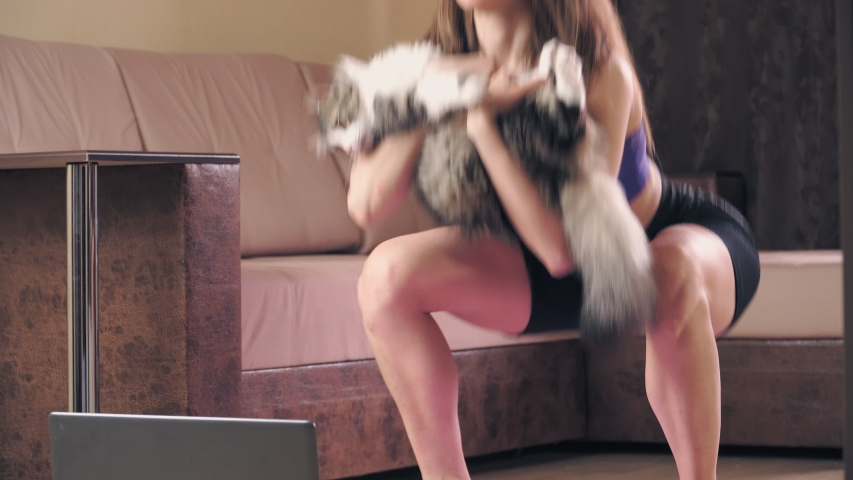 Young athletic woman with cat on hands engaged in fitness at home in front of a laptop. Workout the house online during the quarantine.