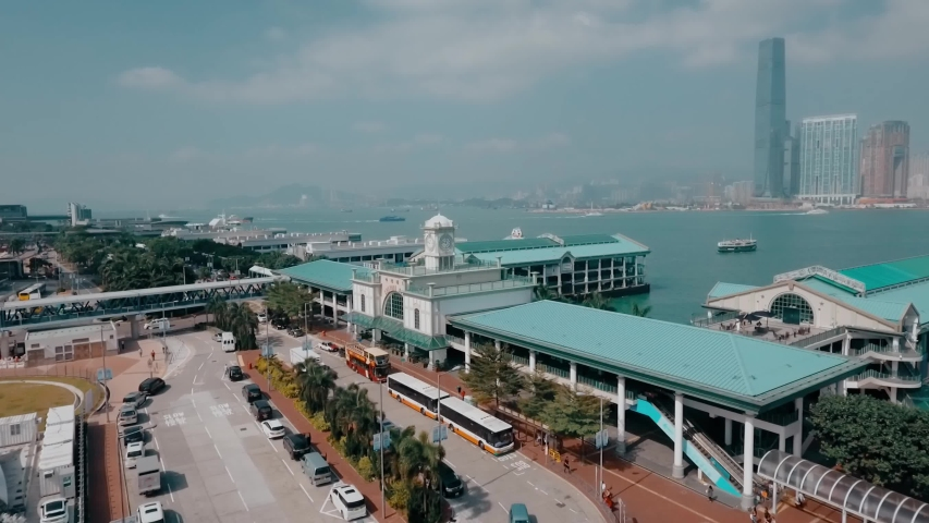 Aerial video of Star Ferry Central Pier on Hong Kong island