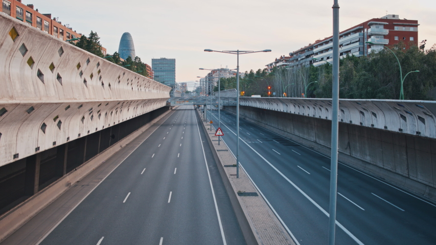 4K Empty highway in Barcelona, Spain, during coronavirus pandemic and state of alarm in April 2020