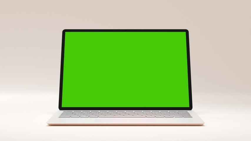 Clean Green Screen Computer for Presentation Beauty Blogger or Game Applications. Motion Laptop with Chroma Key for Advertising Mock Up Freelance Site. Show Greenscreen Background PC Notebook Nobody Royalty-Free Stock Footage #1051469362