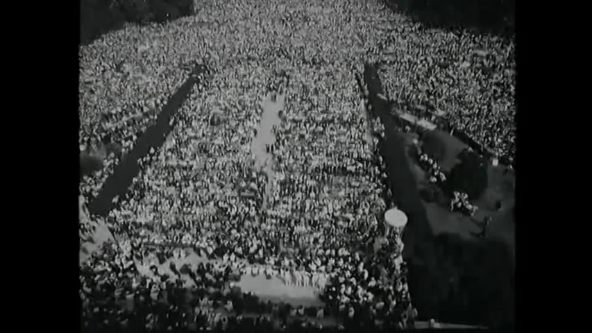 "CIRCA 1963 - Thousands participate in the March on Washington for Jobs and Freedom, while ""We Shall Overcome"" is played."