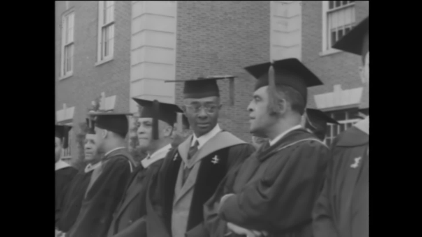 CIRCA 1944 - At the commencement ceremony for Howard University, a class of mostly women receives their degrees.