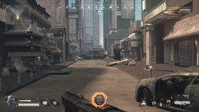 Fake 3D game. Sci-fi city shooter with hud