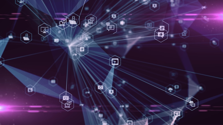 Social media connected devices of cloud computing and big data network technology - 3D rendering animation | Shutterstock HD Video #1051520158