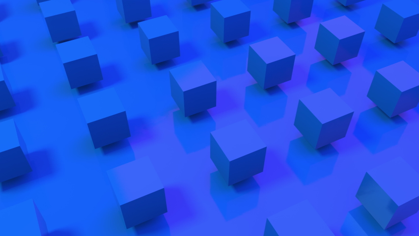 Seamless loop of 3D blue cubes rotating on a royal blue background. Space to put your text. Textless 3D animation great for ads. #1051553059