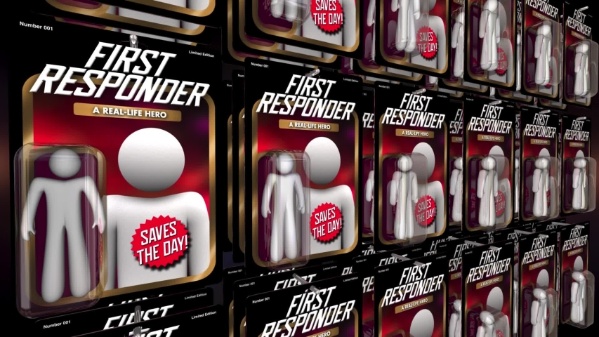 First Responder Emergency Workers Police Fire Medical Action Figure 3d Animation