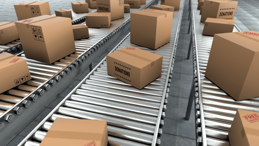 Donation in the cardboard boxes which moving on the conveyor belt. Humanitarian aid with essential goods, medicines, food and cereals. Parcels will be delivered who are out of work and money, 3d loop