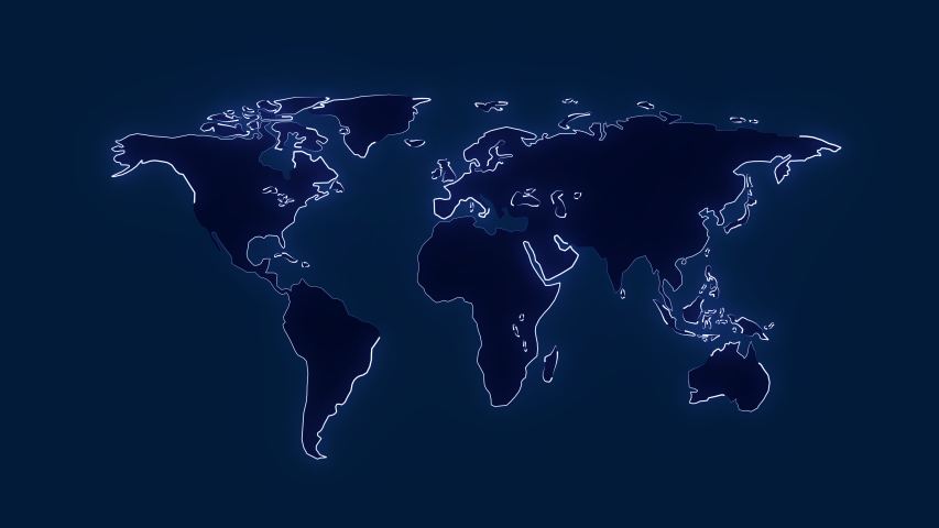 4K Map of the 2D world. Neon light looping the map.  | Shutterstock HD Video #1051585861