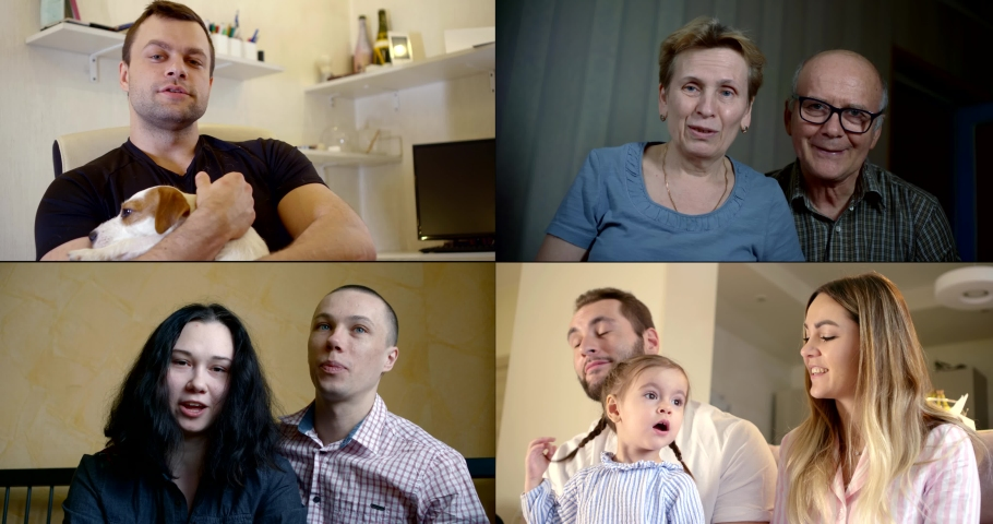 Collage, multi-shot of different people who communicate via video during the quarantine period, including a young family with a daughter, a middle-aged man with a dog | Shutterstock HD Video #1051595488