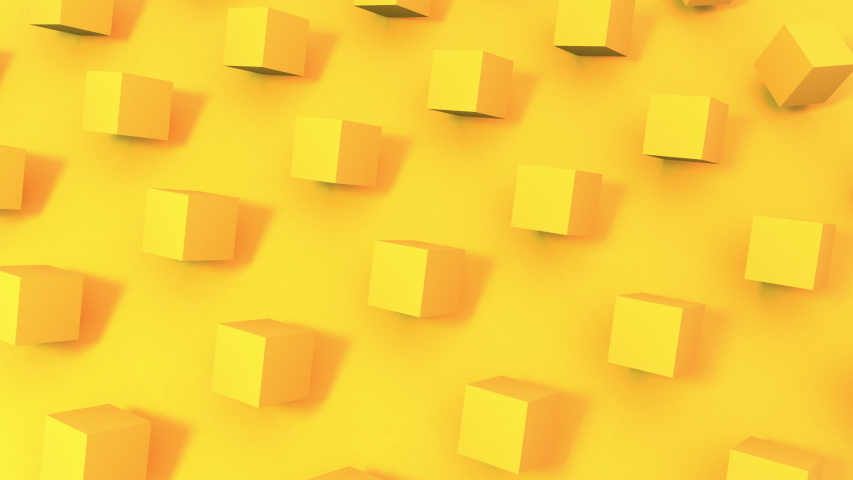 3D animation of seamless loop background of sunny bright yellow cubes rotating. Great for presentations. Put your text in it.  | Shutterstock HD Video #1051614652