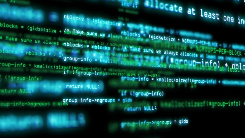 Programming code running over computer screen terminal, hacking concept,4k