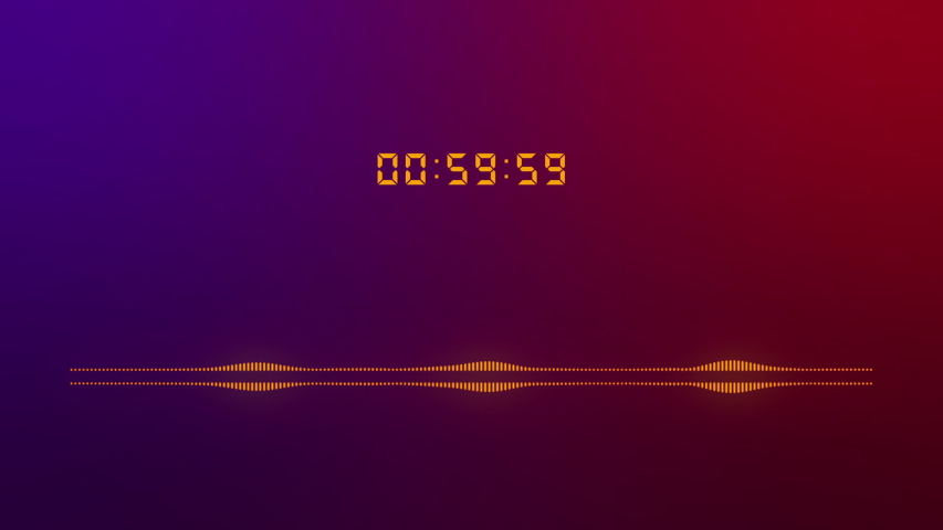Equalizer spectrum display motion graphic by beat. Digital running number and countdown one minute. Stopwatch 60 seconds. Color neon gradient. | Shutterstock HD Video #1051630069