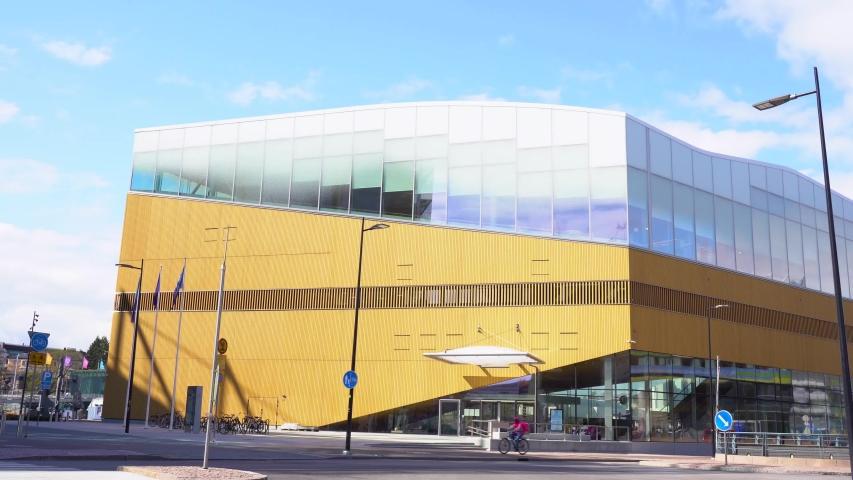 Finland, Helsinki - April 27th 2020: Helsinki library called Oodi. Oodi is Helsinki's new Central Library. Finland.