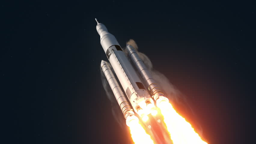 Space Launch System Takes Off. 3D Animation. | Shutterstock HD Video #10516424