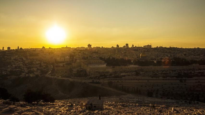 Skyline of Jerusalem, the Jewish Quarter time lapse Mount Olives sunset