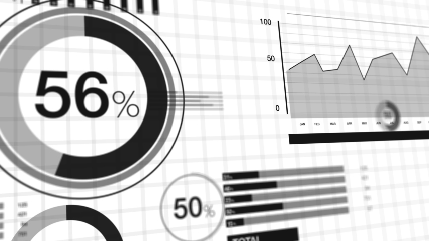 3D animation black on white background of corporate charts and bar graphs. Royalty-Free Stock Footage #1051674187