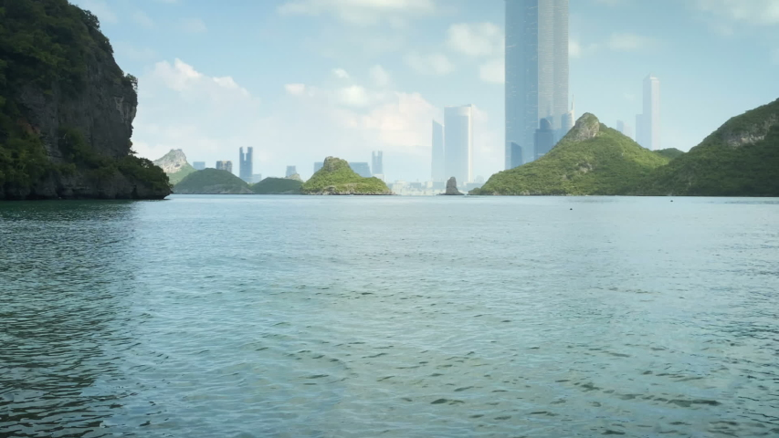 City of the future islands view | Shutterstock HD Video #1051674523