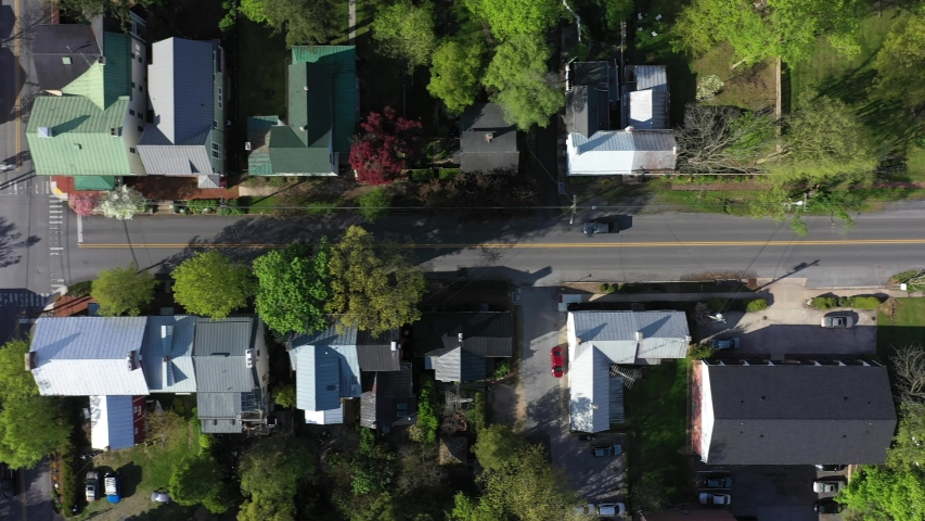Aerial view looking straight down on the small town of Shepherdstown, WV.