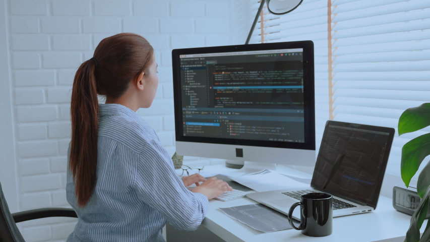 Developing programmer Development Website design and coding technologies working at home Royalty-Free Stock Footage #1051712233