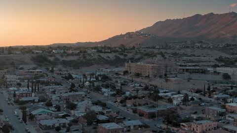 Aerial: El Paso suburbs at sunset. Texas, USA