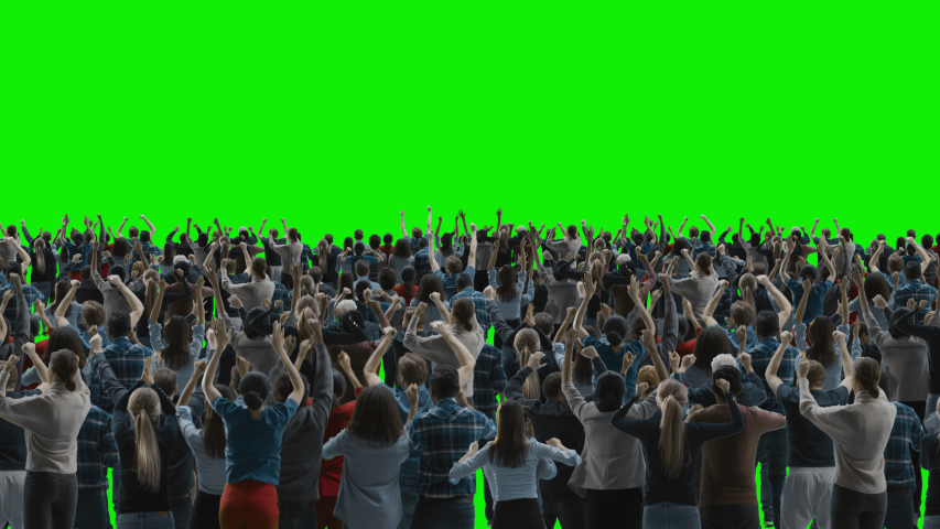 Green Screen: Big Crowd of People Having Fun, Cheering, Applauding, Jumping and Celebrating at Sport Event, Concert, Festival, Party. Back View. Chroma Key, Black Screen, Silhouette Black and White | Shutterstock HD Video #1051721734