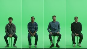 4-in-1 Green Screen Collage: Four Portraits of Handsome Men of Diverse Background, Ethnicity, Different Age Sitting on the Chroma Key Chair. Front View Split Screen. Multiple Clips Best Value Pack