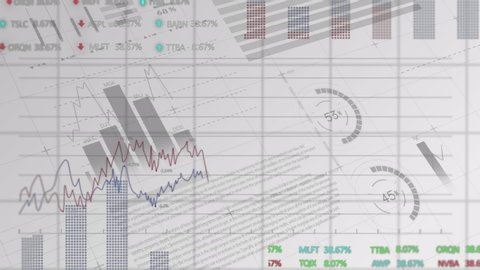 Animation of stock market display with numbers and graphs, price going up and down at the stock exchange over data recording on white background. Finance business stock market global data processing
