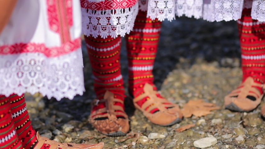 Traditional Folk Costume Details. Handmade Leather Shoes and Socks Royalty-Free Stock Footage #1051744420