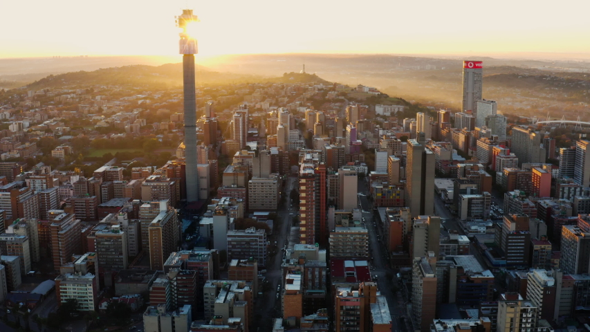 AFRICA,SOUTH AFRICA,CIRCA 2020.Epic aerial view of the magnificent Johannesburg City Centre at sunrise