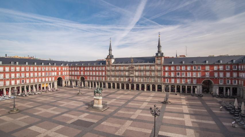 Madrid Spain time lapse 4K, city skyline timelapse at Plaza Mayor nobody empty due to Coronavirus Covid-19 lockdown Royalty-Free Stock Footage #1051753654