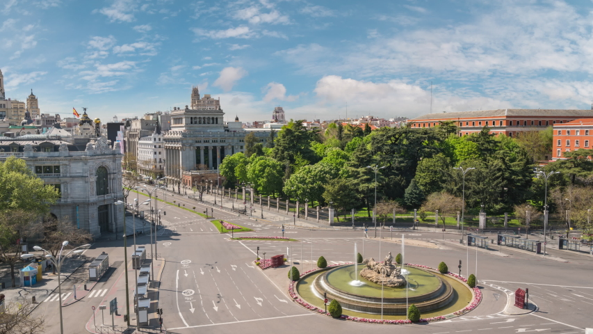 Madrid Spain time lapse 4K, city skyline timelapse at Independence Square and Cibeles Fountain nobody empty due to Coronavirus Covid-19 lockdown | Shutterstock HD Video #1051753657
