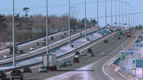 Time Lapse Of A North American Four Lane Highway With Commuter Traffic