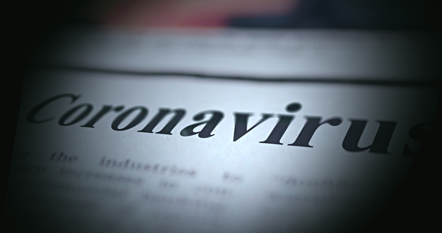 Newspaper animation of deadly Coronavirus Covid-19 pathogen spread. Different newspaper headlines flyby of spreading deadly Sars-CoV-2 virus strain in different countries in 2020 - 4K UHD Royalty-Free Stock Footage #1051764649