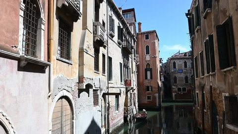 Venice, Italy - Historic buildings between the canals of the lagoon city