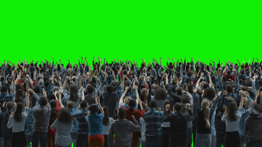 Green Screen: Big Crowd of People Having Fun, Cheering, Applauding, Jumping and Celebrating at Sport Event, Concert, Festival, Party. Back View. Chroma Key, Black Screen, Silhouette White On Black