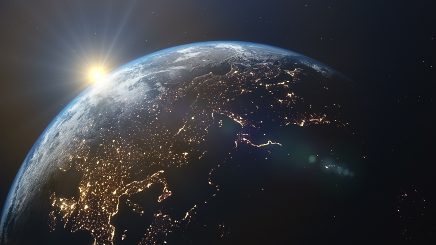 Rotating planet Earth with a real tilt axis and direction of rotation. Sunrise over the eastern hemisphere. Elements of this video furnished by NASA   Shutterstock HD Video #1051845709