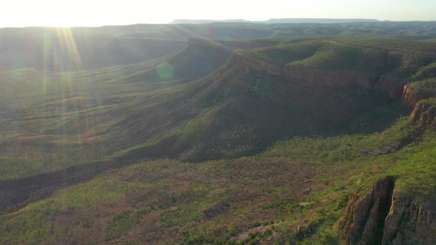 Cockburn Range Gibb River Road sunset flight from a drone  | Shutterstock HD Video #1051860553