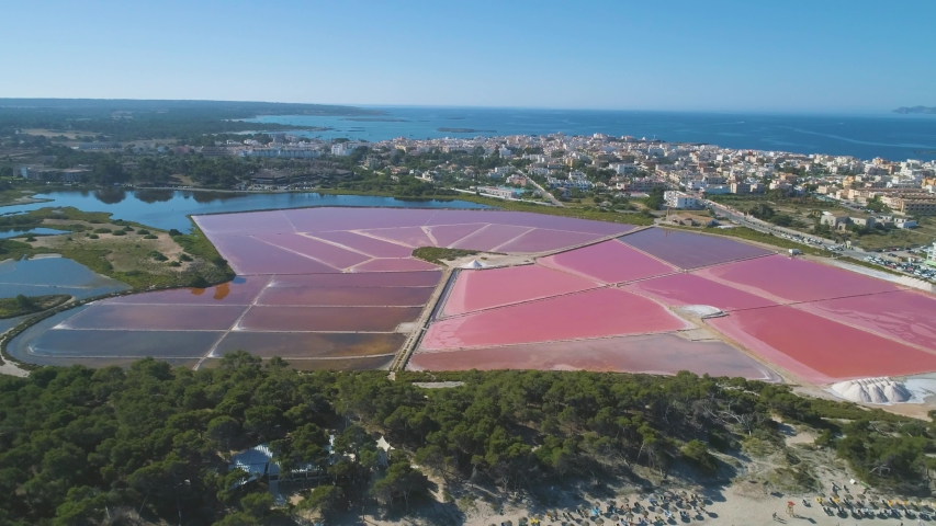 Establishing aerial shot of landscape of amazing pink salt ponds located near small coastal town and beach   Shutterstock HD Video #1051878481