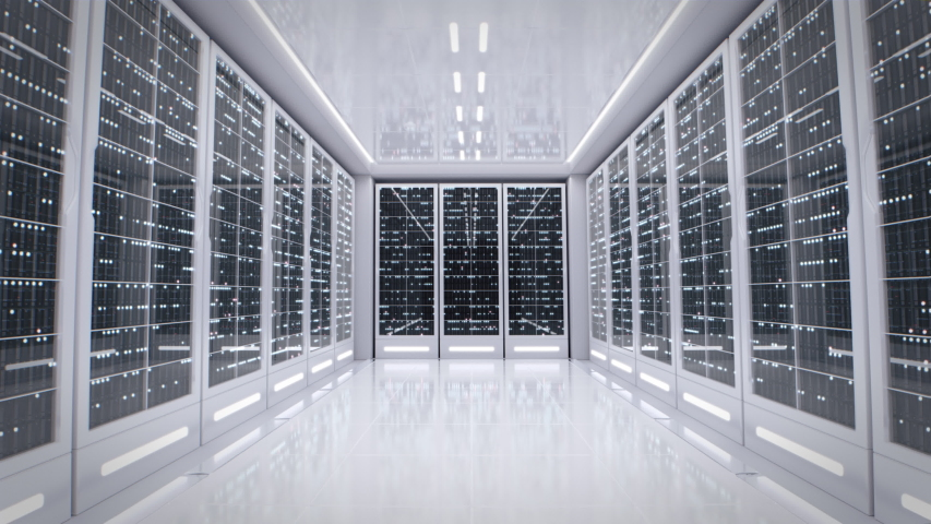 White server room in modern data center. Cloud computing data storage 3d rendering. Walkthrough racks of network and information servers behind glass panels. Flashing light indicators.