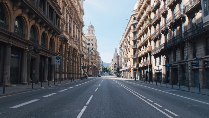 4K Barcelona main avenue empty during coronavirus outbreak and state of alarm in Spain, April 2020 Royalty-Free Stock Footage #1051897060