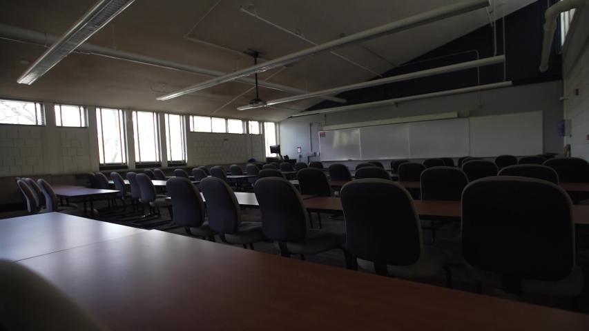 Pittsburgh, Pennsylvania / USA - March 20, 2020: 2020 Coronavirus Covid 19 Disease Empty Classroom Campus University College 4K   Shutterstock HD Video #1051913089