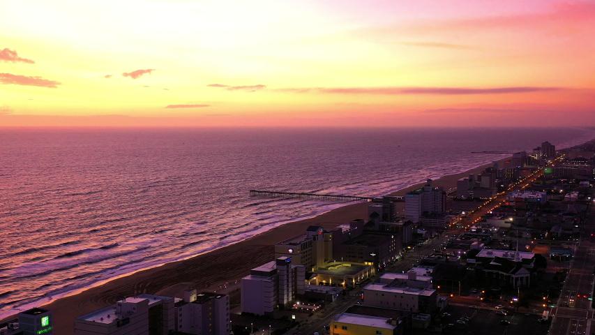 Aerial: Virginia Beach Captured at sunrise from aerial prospective